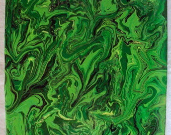 """Abstract Painting Greens of the Forest on 10"""" x 10"""" Wood Panel"""