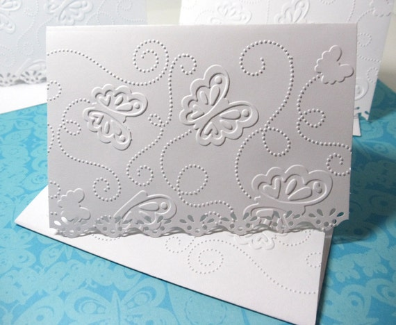 Blank Cards- Boxed Set- Thank You Cards- Wedding- Embossed- Lined- 8 Cards- Lacy Edges- Handmade