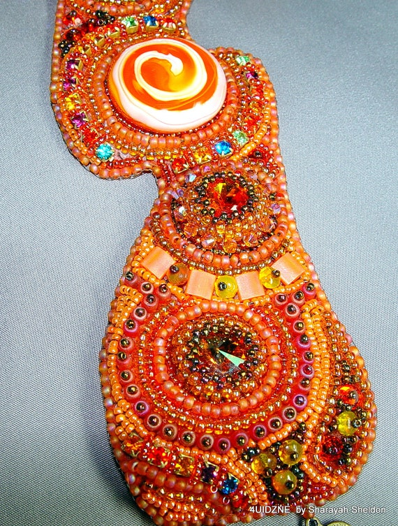 Tantalizing, Twirling Tangerine Bead Embroidered  Bracelet Cuff EBWC