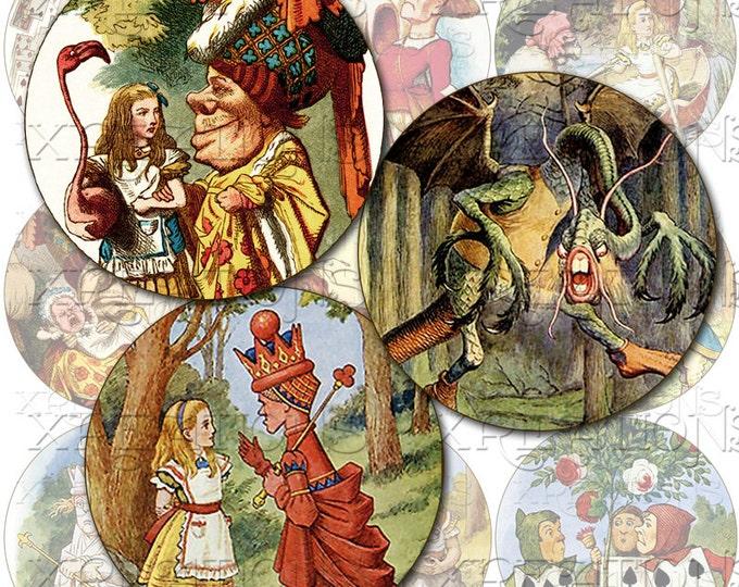 Alice' Adventures in Wonderland in 2 inch Circles - Digital Collage Sheet