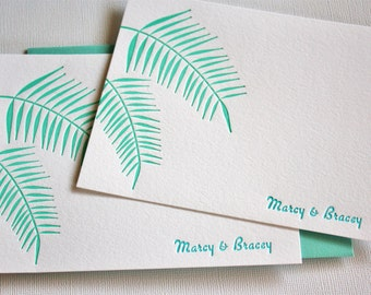 Personalized Letterpress Stationery Hawaii Palm Leaves Ocean Blue