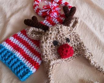 Baby Hat Set  - Baby Hats - Elf Hat - Reindeer Hat - Christmas Hat Twin Set - Baby Elf Hat and Reindeer Hat -by JoJosBootique