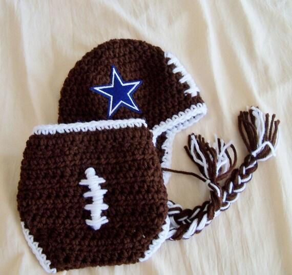 Baby Hat - Football Hat -Football Hat and Cover-  Team Logo Hat - Sports Team Hats - Crochet Newborn Football Hat - by JoJosBootique