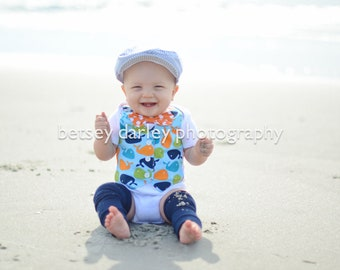 Fun At The Beach Whale Bodysuit Vest with Removable Matching Bow Tie