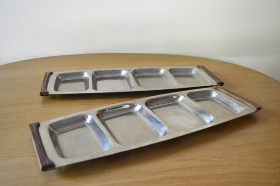 Vintage Set of Danish Modern Lundtofte Stainless Steel Divided Serving Trays