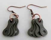 Bike jewelry copper cycling bicycle chain earrings
