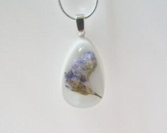 Real Sea Lavender Necklace, Nature, Botanical Necklace, Pressed Flower,  Resin Pendant