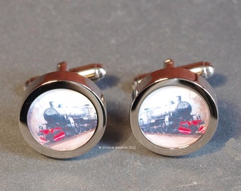 Number 1037 Steam Train Cufflinks for Train Fans Both Young and Old