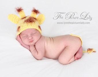 Baby Giraffe Hat and Tail  Set Newborn Crochet  Photo Prop