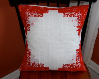 Red Log Cabin, Decorative Pillow, Traditional