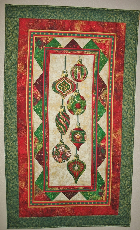 Christmas Ornament Wall Hanging or Table Topper Quilted