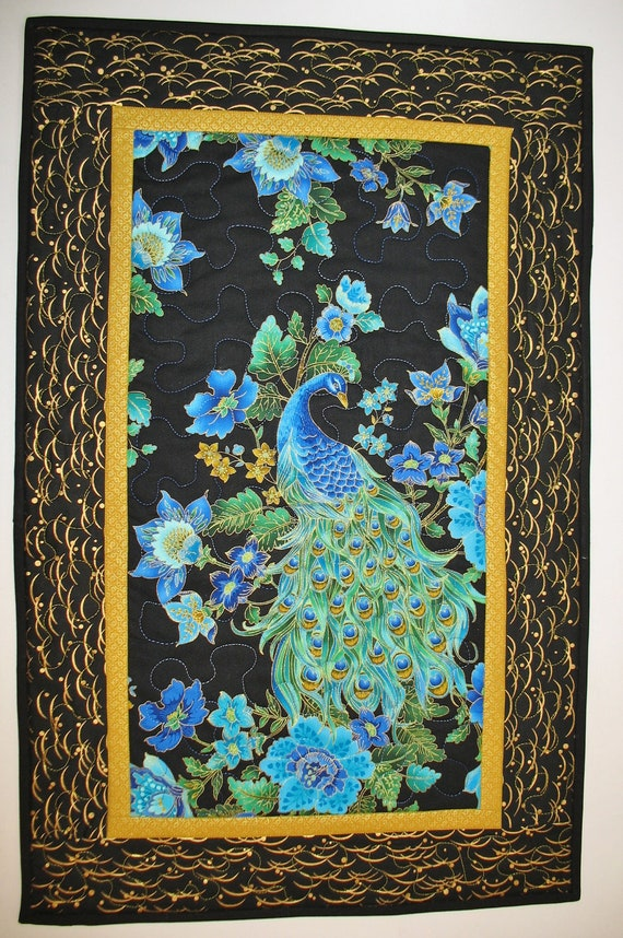 Peacock Wall Hanging or Table Runner Quilted fabric from Timeless Treasure Plume  Fabric Line