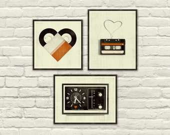 VINTAGE MUSIC LOVE, Valentines Day, Posters - 8 x 10, 8 x 8 Art Prints, Heart, Cassette Tape, Vinyl, Clock, Radio, Music, Nursery, Hipster