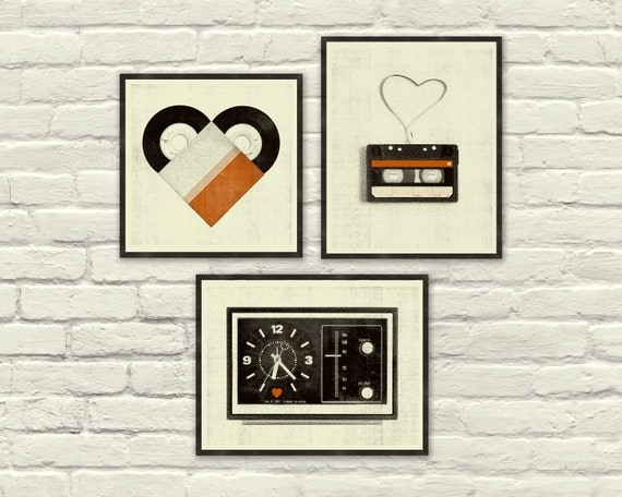 VINTAGE MUSIC LOVE - 8 x 10, 8 x 8 Art Prints, Posters, Heart, Valentine's Day, Cassette Tape, Vinyl, Clock, Radio, Music, Nursery, Hipster