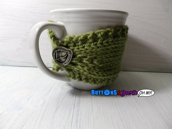 Green Mug Cozy with Leaf Button Closure