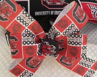 Dog Collar USC University of South Carolina Gamecock w Ribbon Gamecock Team Sports College Bow Choose SIZE Adjustable Dog Collar with D Ring