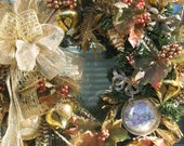 PRECIOUS-Gold/Pink/Mango-CHRISTMAS 2012 Collection-Wreath-Free Shipping