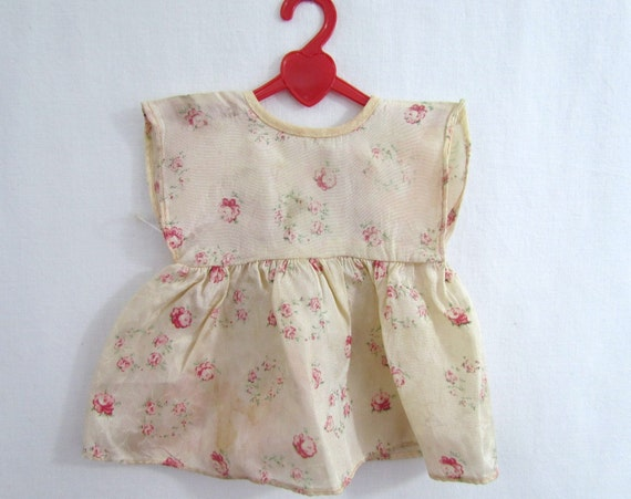 Doll Dress Vintage in Satin Fabric with Tiny Rose Print