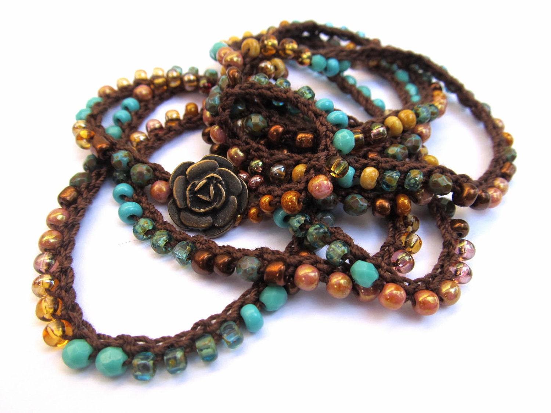 crochet beaded bracelet wrap bracelet water and