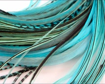 Turquoise Hair Accessories Womens Gift Popular Color Feather Hair Extensions Long Hair Feathers Ocean Blue Shades DIY Kit, 7