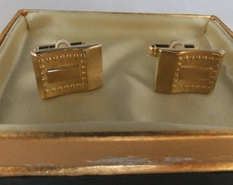 "Vintage  Wedding jewelry cuff links in Gold Tone by ""H' origanial Box marked Country Club Wedding cuff links Sale 50 off"