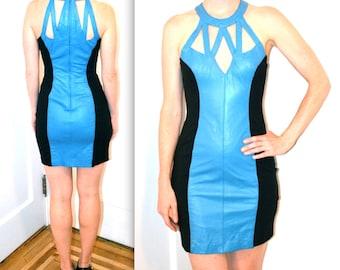 Stunning 90s Leather Dress Size Small Medium Blue and Black// 90s Body Con Leather Dress Size Medium