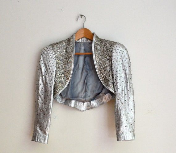 Amazing 80s Vintage Metallic Silver Studded Leather Jacket with Rhinestones and Silver Studs, Size XS