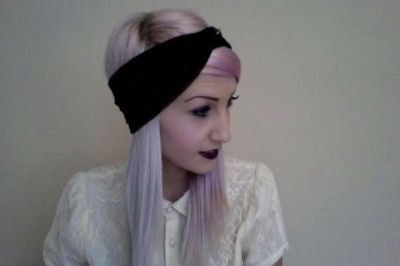 BLACK stretchy LACE goth turban headband with maroon rosette on synch