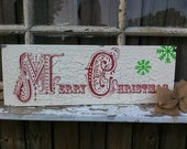Christmas Decor Hand Painted Personalized Custom Wooden Whimsical Christmas Sign