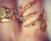 Gold Plated Interlocked Bird Claw Ring - DIFFUSION LINE
