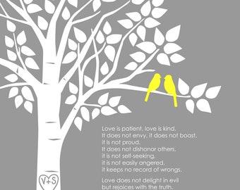 "Personalized Custom 1 Corinthians 13 Love Birds Family Tree - Wedding Gift or First Anniversary Paper Gift - 11""x14"" (Yellow/Gray)"