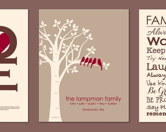"Mother's Day Gift Love 1 Corinthians 13 Print Custom Love Bird Family Tree and Family Rules Print - Set of three art poster prints - 11""x14"""