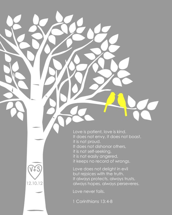 """Personalized Custom 1 Corinthians 13 Love Birds Family Tree - Wedding Gift or First Anniversary Paper Gift - 8""""x10"""" (Yellow/Gray)"""