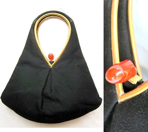RESERVED 1940s Black Purse with Bakelite Clasp