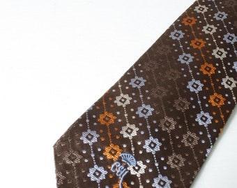 Vintage Silk Tie, Countess Mara New York Brown and Blue Necktie, Retro 1980's
