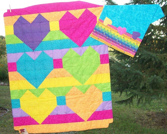 Rainbow Hearts Quilt and Pillowcase