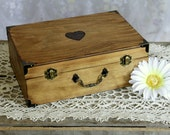 Medium Size - Simple Rustic Heart Wood Letter Box, Memory Box, Treasure Chest, Keepsake Box