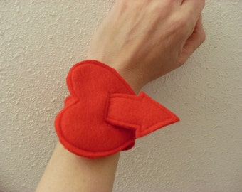 Love Red Heart Arrow Felt Cuff Bracelet Valentines Day Heart