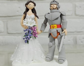 Knight and his cute bride custom wedding cake topper decoration