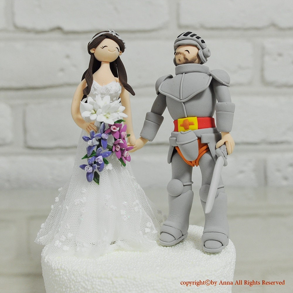Bride Wedding Cake Topper: Knight And His Cute Bride Custom Wedding Cake Topper