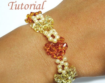 Beading Tutorial - Beaded Crystal Heart to Heart Bracelet Pattern
