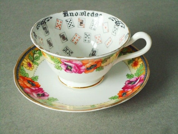 Floral Fortune Telling Tea Cups and Saucers - Aynsley Cup of Fortune - Teacups and Saucers