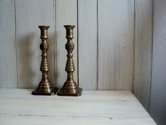 vintage pair of tall solid brass candlestick holders wilton made in usa 9-3/4 inches  tall