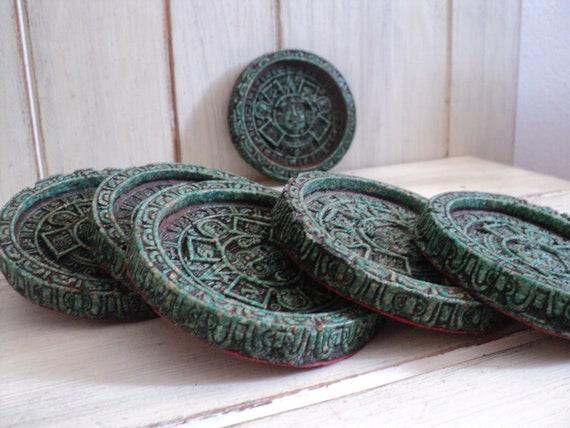 set of 8 vintage faux rock Mexican  Mayan Aztec drink coasters