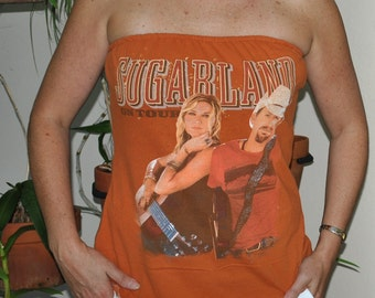 SUGARLAND On Tour strapless sports gameday tube top UPCYCLED Cotton T shirt L