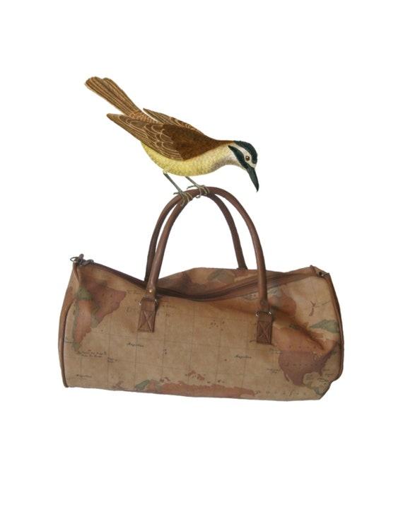 Vintage Hobo World Map Travel Bag TRAVEL BY AIR Global Design Vinyl Duffle Gym Shoulder Bag Hold All Carry On Bag  No. 22