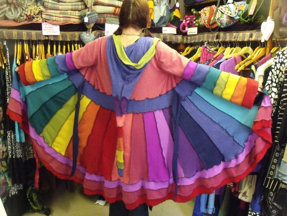 Upcycled Rainbow Faery Coat With Elf Hood plus size
