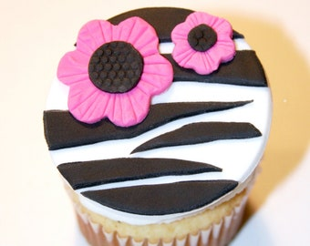 Fondant cupcake toppers Zebra Print Flower, Sweet 16 Birthday party