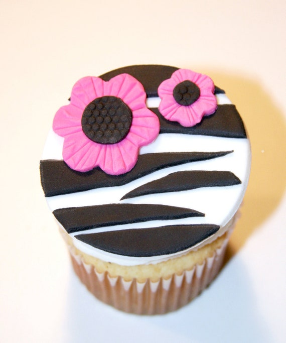 Fondant Cupcake Toppers Zebra Print Flower Sweet 16 Birthday Party
