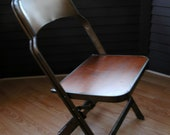 Antique Clarin Adult Metal/Wood Folding Chair
